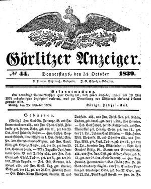Görlitzer Anzeiger vom 31.10.1839