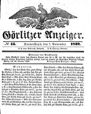 Görlitzer Anzeiger vom 07.11.1839