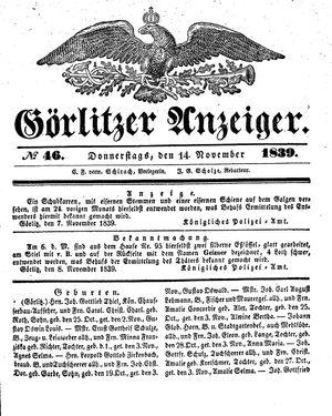 Görlitzer Anzeiger vom 14.11.1839