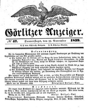 Görlitzer Anzeiger vom 21.11.1839