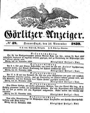 Görlitzer Anzeiger vom 28.11.1839