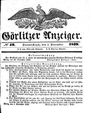Görlitzer Anzeiger vom 05.12.1839