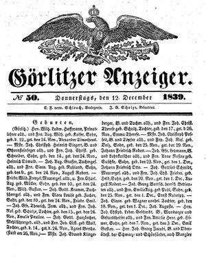 Görlitzer Anzeiger vom 12.12.1839
