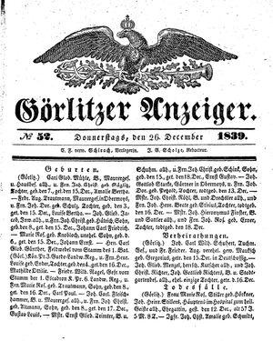 Görlitzer Anzeiger vom 26.12.1839