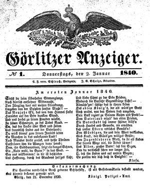 Görlitzer Anzeiger vom 02.01.1840