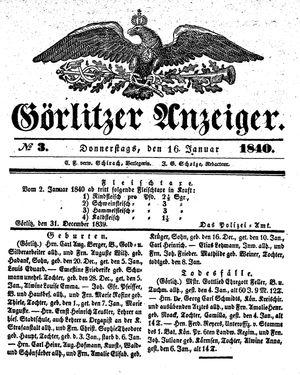 Görlitzer Anzeiger vom 16.01.1840