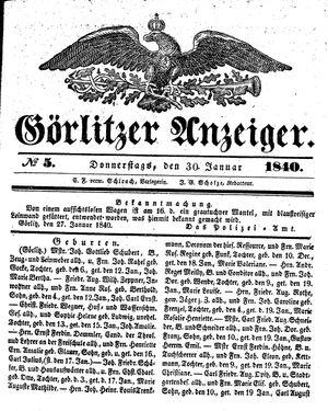Görlitzer Anzeiger vom 30.01.1840