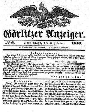Görlitzer Anzeiger vom 06.02.1840