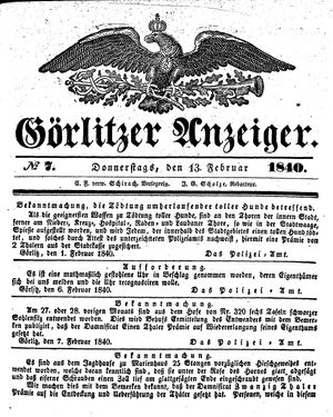 Görlitzer Anzeiger vom 13.02.1840