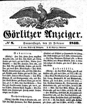 Görlitzer Anzeiger vom 20.02.1840