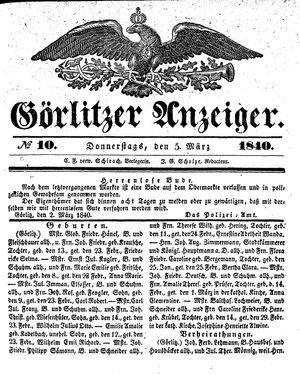 Görlitzer Anzeiger vom 05.03.1840