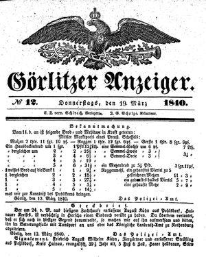 Görlitzer Anzeiger vom 19.03.1840