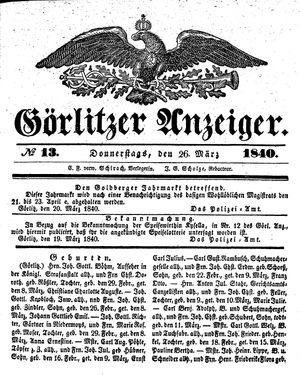 Görlitzer Anzeiger vom 26.03.1840