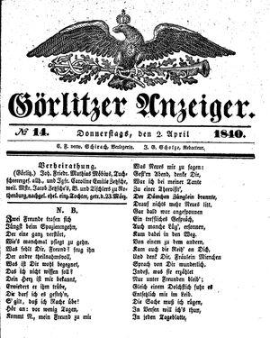 Görlitzer Anzeiger on Apr 2, 1840