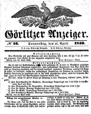 Görlitzer Anzeiger on Apr 16, 1840