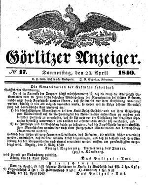 Görlitzer Anzeiger vom 23.04.1840