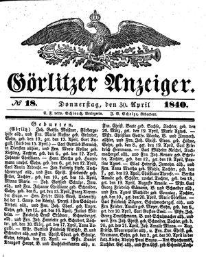 Görlitzer Anzeiger vom 30.04.1840