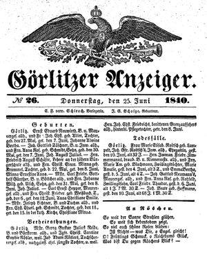 Görlitzer Anzeiger vom 25.06.1840