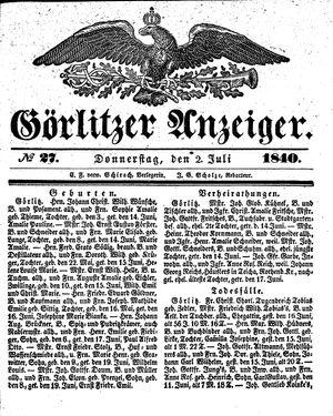 Görlitzer Anzeiger vom 02.07.1840