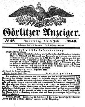 Görlitzer Anzeiger vom 09.07.1840