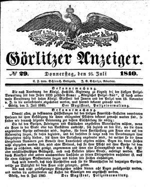 Görlitzer Anzeiger vom 16.07.1840