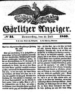 Görlitzer Anzeiger vom 30.07.1840