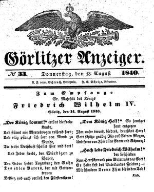 Görlitzer Anzeiger vom 13.08.1840