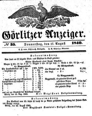 Görlitzer Anzeiger vom 27.08.1840