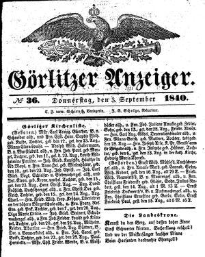 Görlitzer Anzeiger vom 03.09.1840