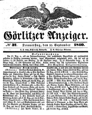 Görlitzer Anzeiger on Sep 10, 1840