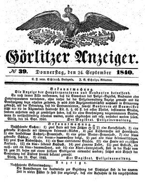 Görlitzer Anzeiger vom 24.09.1840