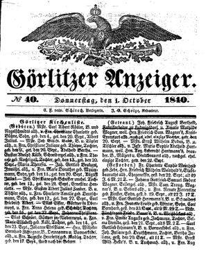 Görlitzer Anzeiger vom 01.10.1840