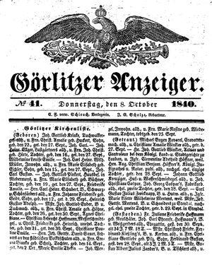 Görlitzer Anzeiger vom 08.10.1840