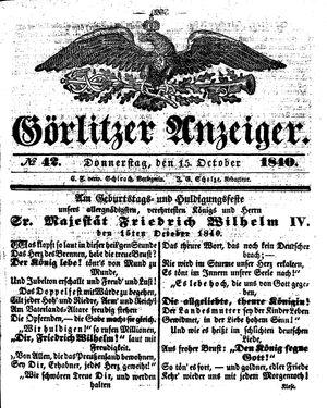 Görlitzer Anzeiger vom 15.10.1840