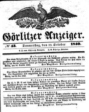 Görlitzer Anzeiger vom 22.10.1840