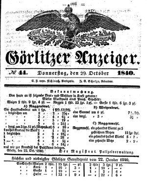 Görlitzer Anzeiger vom 29.10.1840