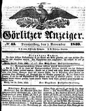 Görlitzer Anzeiger on Nov 5, 1840