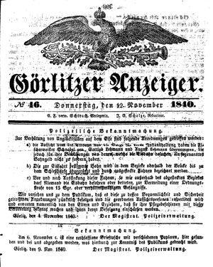 Görlitzer Anzeiger vom 12.11.1840