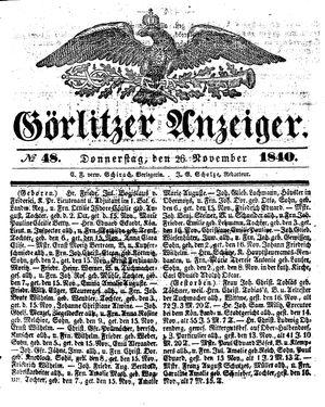 Görlitzer Anzeiger vom 26.11.1840