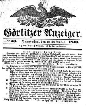 Görlitzer Anzeiger vom 10.12.1840