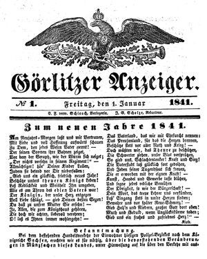 Görlitzer Anzeiger vom 01.01.1841