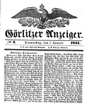 Görlitzer Anzeiger vom 07.01.1841