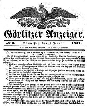 Görlitzer Anzeiger vom 14.01.1841