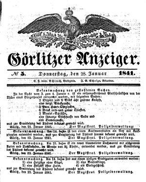 Görlitzer Anzeiger vom 28.01.1841