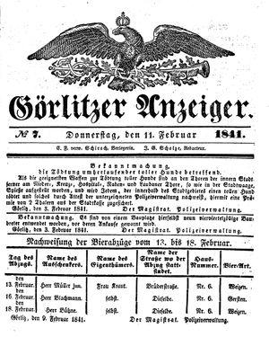 Görlitzer Anzeiger vom 11.02.1841