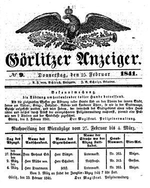 Görlitzer Anzeiger vom 25.02.1841
