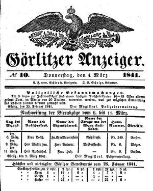 Görlitzer Anzeiger vom 04.03.1841