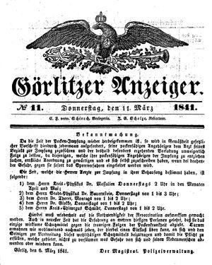 Görlitzer Anzeiger vom 11.03.1841
