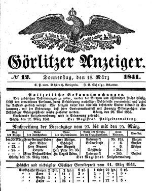 Görlitzer Anzeiger vom 18.03.1841