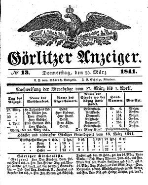 Görlitzer Anzeiger vom 25.03.1841